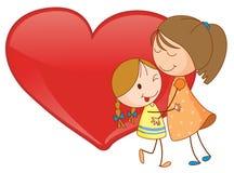 Flickor och hjärta Royaltyfri Bild
