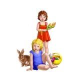 Flickor och kanin Fotografering för Bildbyråer