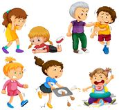 Flickor och pojkar i olika aktiviteter Royaltyfri Foto