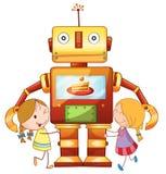 Flickor och robot Arkivbild
