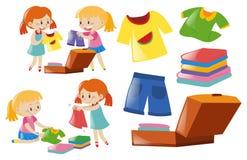 Flickor och uppsättning av kläder stock illustrationer