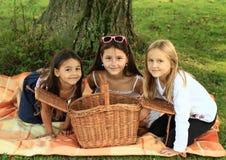 Flickor på filten med korgen Arkivfoto
