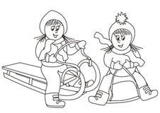 Flickor på slädarna och boben, färgläggningbok stock illustrationer