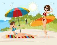 Flickor på stranden Fotografering för Bildbyråer