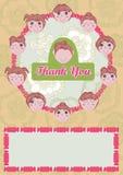 Flickor säger tackar dig Card_eps vektor illustrationer