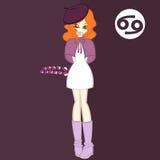 Flickor sänker stil, blomman för zodiak`-Cancer-Acanthus `, royaltyfri illustrationer
