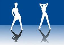 flickor silhouette två Arkivbild