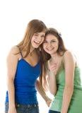 flickor skrattar tonårs- två Royaltyfria Bilder