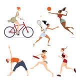 Flickor som är involverade i sportar Arkivbild