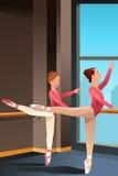 Flickor som öva balett royaltyfri illustrationer