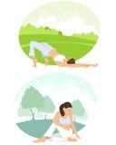 flickor som öva yoga Royaltyfria Bilder