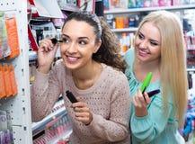 Flickor som applicerar den near spegeln för mascara Arkivfoton