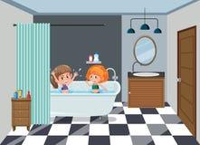 Flickor som badar på badrummet vektor illustrationer