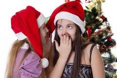 Flickor som delar sig hemligheter på julafton Arkivbild