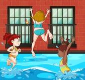 Flickor som dyker och simmar i pölen stock illustrationer