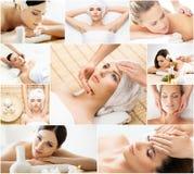 Flickor som får brunnsortbehandling Hälso-, medicin- och rekreationcollage Läka och massera begrepp Royaltyfri Fotografi