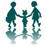 flickor som går little tre som går Royaltyfria Foton