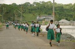 Flickor som går till skolan arkivfoto