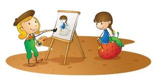 Flickor som gör målningen Arkivbild