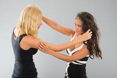 Flickor som har en kamp Arkivbild