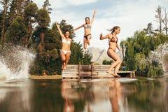 Flickor som hoppar in i en vildmarksjö Arkivfoto