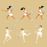 flickor som leker tennis royaltyfri illustrationer