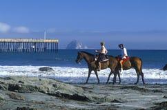 Flickor som rider hästryggen på stranden, Morro fjärd, CA Arkivbild