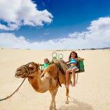 Flickor som rider kamlet i kanariefågelöar Royaltyfri Fotografi