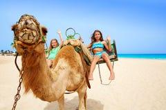 Flickor som rider kamlet i kanariefågelöar Royaltyfria Bilder