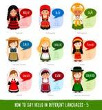 Flickor som säger hälsningar i utländska språk stock illustrationer