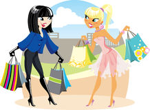 flickor som shoppar två Fotografering för Bildbyråer
