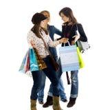 flickor som shoppar ut tre arkivfoto