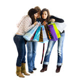 flickor som shoppar ut tre royaltyfria foton