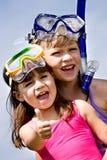 flickor som snorkeling Royaltyfria Bilder
