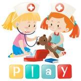 Flickor som spelar doktorn och sjuksköterskan vektor illustrationer