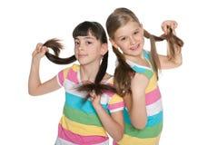 Flickor som spelar med deras svansar Arkivfoton