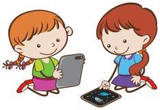 Flickor som spelar minnestavlan på vit bakgrund stock illustrationer