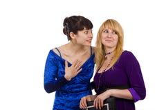 flickor som talar två Arkivbilder
