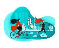Flickor som tycker om fritid på sommarmorgnar med sportaktiviteter i stadsCentral Park sådant rinnande & cykla Plan tecknad films vektor illustrationer