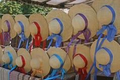 Flickor Straw Hats Royaltyfria Bilder