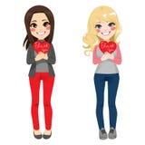 Flickor tackar dig hjärta royaltyfri illustrationer