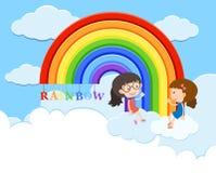 Flickor talar över regnbågen royaltyfri illustrationer