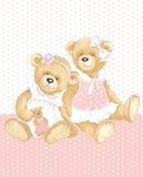 Flickor Teddy Bear Royaltyfri Foto