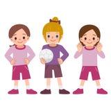 Flickor till fotbollen Arkivfoton