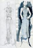 Flickor till modeller, visar torkduken Royaltyfria Bilder
