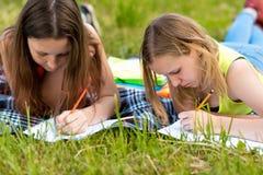 flickor tonårs- två Sommar i natur Gör kurserna i anteckningsböcker De lägger på gräs på en randig filt Skriv royaltyfri bild