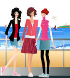 flickor tre stock illustrationer