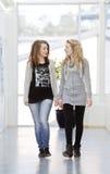 flickor två som går Arkivfoton