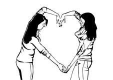 Flickor uttrycker deras känslor med symbolet vektor illustrationer
