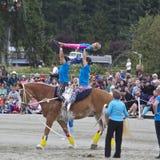 Flickorna och deras häst Arkivfoton